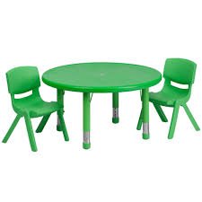 33 round green plastic height adjule activity table set with 2 chairs yu