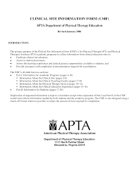 Physical Therapist Resume Template Clinical Site Information Form For APTA Department Of Physical 7