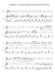 Piano keyboard guitar violin alto tenor saxophones. Pop Song Mashup Sheet Music For Piano Violin Mixed Duet Musescore Com
