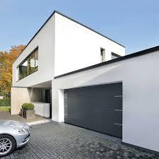 square side sliding garage doors in metal work fits in modern house