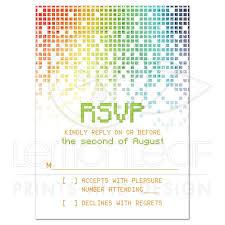 Rsvp Card Sizes Video Game Bar Mitzvah 4bar Rsvp Card Gamer Gaming Pixel
