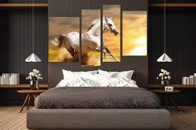 4 Piece Canvas Photography Wildlife Artwork White Horse Canvas