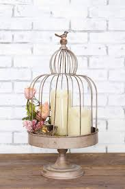 Distressed Gray Birdcage with Bird Ornament & Stand