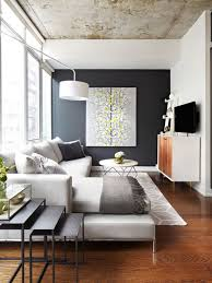 dark gray feature wall in the modern living room concrete ceiling gray paint color