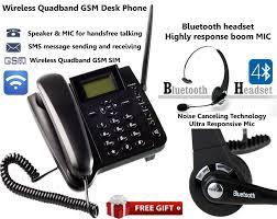 wireless gsm office desk phone quadband sim sms bluetooth headset noise cancel unbrandedgeneric