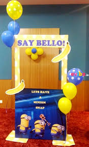 Everyone attending the party love to take snaps at a photo booth. All your  guests will have fun playing around with the minion themed props and the  photos ...