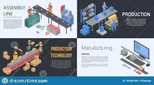 Assembly Line Design Assembly Line Manufacture Banner Set Isometric Style Stock