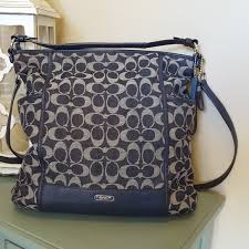 Coach Hobo Signature Navy Cloth Bag Leather Accent