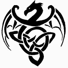 Black Celtic Dragon Tattoo Sketch