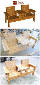 wood patio furniture plans. Modren Patio DIY Double Chair Bench With Table Free Plans Instructions  Outdoor Patio  Furniture Ideas On Wood I