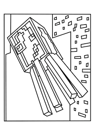 Small Picture Squid and Spider Minecraft Coloring Pages Free Printable