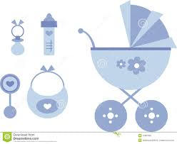 Baby Things Clipart Clip Art Set Baby Blue Stock Vector Illustration Of Buggy 10987050