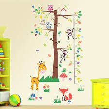 Large Tree Cartoon Animals Height Ruler Growth Chart Wall Decals Kids Room Nursery Decor Wall Stickers Art Grass Giraffe Mushroom Wallpaper All Wall