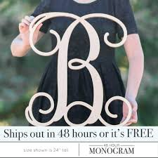 wooden monogram letters single letter large free hanging uk