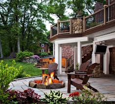 outdoor wood patio ideas. Simple Patio Great Outdoor Patio Ideas With Fire Pit Area And Wood Deck Railing Also  Using Staircase Designs Throughout O