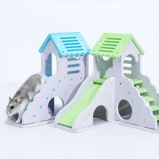 pet small animal hideout hamster hedgehog guinea pig house two layers wooden villa exercise play toys with ladder com