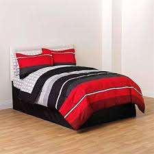 full comforter set black red gray white rugby boys stripe complete bedding set 8 piece bed