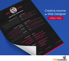 Download Free Creative resume for Web Designer PSD Freebies.A resume or CV  template which
