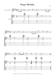 Free beginner sheet music for happy birthday with chords and tablature. Happy Birthday To You Sheet Music For Alto Sax Guitar Duet 8notes Com