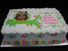OwlBirthdaysheetCakes   Cakes  Specialty Cakes  Birthday Owl Baby Shower Cakes For A Girl