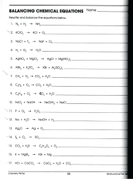 balancing chemical equations chemistry physical science worksheet answers practice