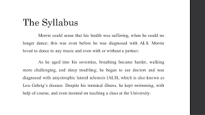 tuesdays morrie book review 11 the syllabus morrie