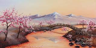 landscape painting cherry blossoms in the mist revisited by joe mandrick