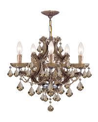 maria theresa 6 light golden teak crystal brass chandelier