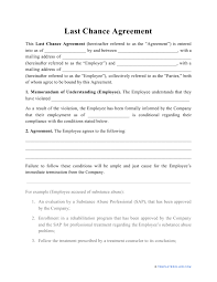 Put things on a formal footing when you engage a consultant or you're being engaged as a consultant to provide services. Last Chance Agreement Template Download Printable Pdf Templateroller