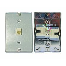 leviton 6p4c stainless steel surface mount phone jack wallplate