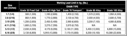 100 Grade Chain Chart The Low Down On Chain Tie Downs Columbus Mckinnon Blog