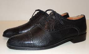 details about zelli black cap toe oxford shoes 10m ostrich leather lace up italy nice