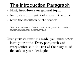 planning a five paragraph essay part a the introduction part b  the introduction paragraph first introduce your general topic