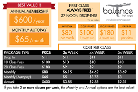 balance hot yoga pricing card