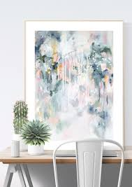 wall art print in pastel blues and greys in scandinavian home office interior sage on pastel wall art adelaide with sage for days i abstract wall art print kate fisher artist