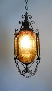 gothic lantern lighting. Gothic Lantern / Amber Art Glass And Wrought Iron Swag Hanging Lamp Ceiling Fixture Spanish Chandelier. $220.59, Via Etsy. Lighting D
