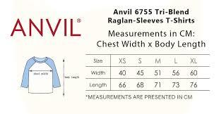 Anvil 6755 Tri Blend Raglan Sleeves T Shirts