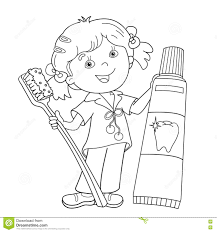Small Picture Coloring Page Outline Of Cartoon Girl With Toothbrush And Toothp