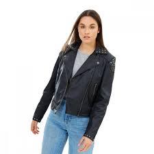 details about james co maria studded biker vegan leather jacket