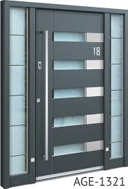 grey contemporary aluminium front door with horizontal glass insert