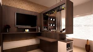 bar counter design in living room with integrated lcd unit and open ledges