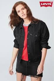 womens levi s ex boyfriend trucker jacket black next at westquay