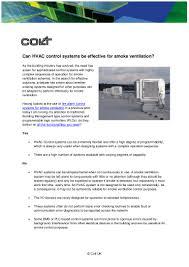 Smoke Ventilation Design Can Hvac Control Systems Be Effective For Smoke Ventilation