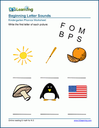 Help kids develop their early phonics skills by learning beginning sounds. Write The Beginning Sound Worksheets K5 Learning