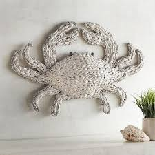 white woven crab wall decor