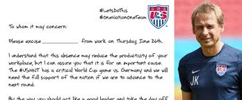 fifa world cup jurgen klinsmann wants bosses to excuse team is coach s sick note for america working