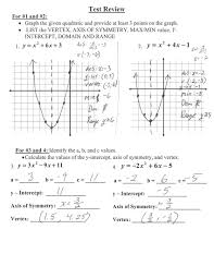 Answer Test Algebra 1 Quadratic Test Review Answer Key Rademaker