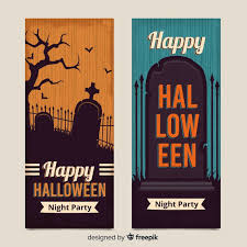 <b>Vintage halloween tomb</b> stone banners | Free Vector