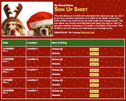 Christmas holiday party class pet volunteer sign up