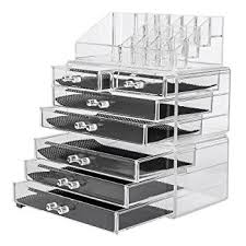 Acrylic 3 piece Makeup Organizer 7 Drawers Cosmetic Organizers Jewelry and  Cosmetic Storage Grid Holders Display